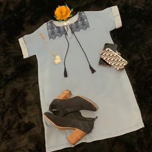 Old Navy Embroidered Tunic Chambray Dress Sz Small